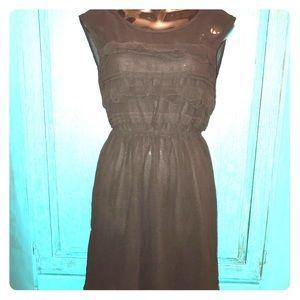 Black YA size small black sheer ruffle dress